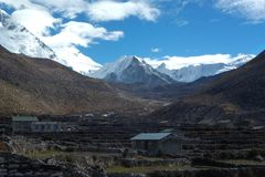 L'EST d'Imja, crête d'île, vue de Dingboche, voyage de camp de base d'Everest, Népal images stock