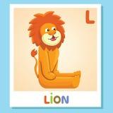 L est pour le lion Lettre L Lion, illustration mignonne blanc animal de vecteur de fonds d'image d'alphabet Photographie stock libre de droits