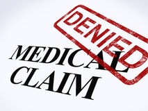 L'estampille refusée par réclamation médicale affiche Reimbursem médical infructueux Photographie stock libre de droits