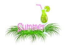 L'estate dell'iscrizione in foglie tropicali con la bevanda fresca del cocktail della calce royalty illustrazione gratis