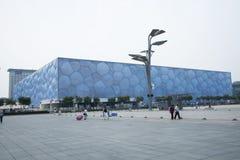 L'estate 2008 di Pechino lo Stadio Olimpico, il centro di nuoto nazionale, Fotografie Stock Libere da Diritti