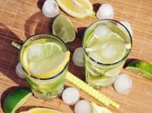 L'estate di rinfresco beve con il limone, la limetta, la menta ed il ghiaccio in vetri Immagini Stock Libere da Diritti