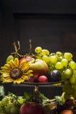 L'estate differente fruttifica in una ciotola del ferro con un girasole su un fondo di legno, fine su immagine stock