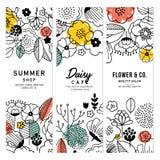 L'estate fiorisce la raccolta verticale dell'insegna Grafico lineare Ambiti di provenienza floreali Stile scandinavo Illustrazion royalty illustrazione gratis