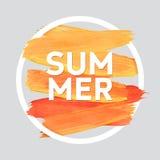 L'estate si rilassa intorno al manifesto acrilico del colpo Iscrizione del testo di un detto ispiratore Modello tipografico del m Fotografie Stock