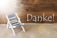 L'estate Sunny Greeting Card, mezzi di Danke vi ringrazia Fotografia Stock Libera da Diritti