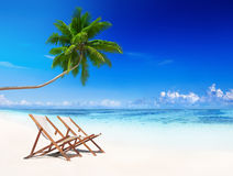 L'estate tropicale della spiaggia degli sdrai si rilassa il concetto di vacanza Immagine Stock Libera da Diritti