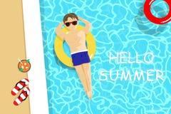 L'estate, l'uomo bello ha una vista superiore del sunbath, la piscina, festa stagionale di vacanza, si rilassa l'illustrazione di illustrazione vettoriale