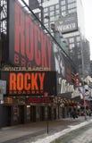 L'esterno del teatro del giardino di inverno, caratterizzante il gioco Rocky The Musical su Broadway in New York Fotografia Stock Libera da Diritti