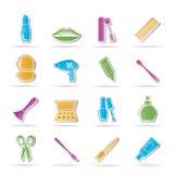 L'estetica, compongono e le icone di lavoro di parrucchiere royalty illustrazione gratis