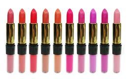 L'estetica del rossetto di Lipgloss ha impostato per trucco Fotografia Stock Libera da Diritti