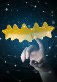 L'estimation de femme d'affaires se tient le premier rôle avec son rendu de la main 3D Photo stock