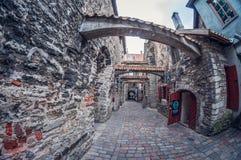L'Estonia, Tallinn - 17 maggio 2016: Vecchia via della città fish-eye di prospettiva di distorsione immagini stock libere da diritti