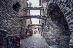 L'Estonia, Tallinn - 17 maggio 2016: Vecchia via della città fish-eye di prospettiva di distorsione fotografia stock libera da diritti
