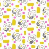 L'estratto caotico modella il modello giallo e rosa senza cuciture di vettore royalty illustrazione gratis