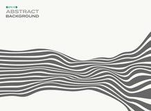 L'estratto delle linee di striscia alla moda grige ondeggia il backgroun del modello di onda Illustrazione Vettoriale