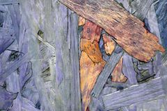 L'estratto dipende un bordo di legno, che erano già presenti sul legno e sono evidenziati a colori e fotografie stock