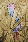 L'estratto dipende un bordo di legno, che erano già presenti sul legno e sono evidenziati a colori e fotografia stock