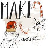 L'estratto disegnato a mano di vettore ha strutturato il modello della cartolina d'auguri di Buon Natale con l'orso polare in cap Fotografia Stock Libera da Diritti