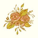 L'estratto fiorisce il mazzo con effetto fatto a mano del ricamo nel verde di rosa dell'oro su bianco Fotografia Stock
