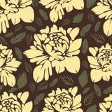 L'estratto fiorisce il reticolo senza giunte Priorità bassa floreale dell'annata Germogli e foglie gialli su un marrone Per la pr Immagine Stock