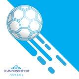 L'estratto gioca a calcio l'illustrazione blu e bianca dell'insegna di campionato del cerchio del fondo di progettazione di vetto illustrazione vettoriale