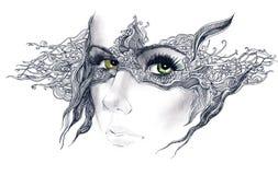 L'estratto ha decorato il fronte della donna illustrazione vettoriale