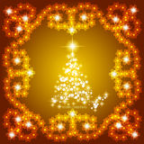 L'estratto ondeggia il fondo con l'albero di Natale Illustrazione in oro e nei colori bianchi Fotografia Stock