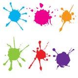 L'estratto schizza la pittura di colore Dipinga schizzano l'insieme Illustrazione di vettore Immagine Stock