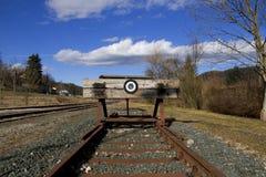 L'estremità della riga ferroviaria Fotografie Stock