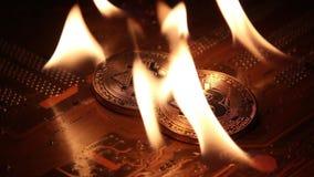 L'or et l'argent Bitcoins sont sur le feu sur les voies d'un panneau d'ordinateur électronique banque de vidéos