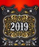 L'or 2019 et l'argent de boucle de ceinture de cowboy conçoivent, fond décoratif d'insigne occidental illustration libre de droits