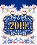L'or 2019 et l'argent de boucle de ceinture de cowboy conçoivent, fond décoratif d'insigne occidental illustration de vecteur