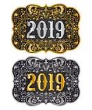 L'or et l'argent de boucle de ceinture de cowboy de la nouvelle année 2019 conçoivent, l'insigne 2019 occidental illustration libre de droits