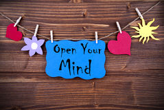 L'etichetta blu con la citazione di vita apre la vostra mente Fotografia Stock Libera da Diritti