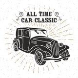 L'etichetta d'annata dell'automobile classica, lo schizzo disegnato a mano, lerciume ha strutturato il retro distintivo, la stamp Immagine Stock