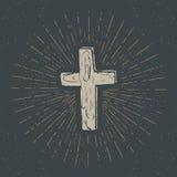 L'etichetta d'annata, l'incrocio cristiano disegnato a mano, il segno religioso, lerciume di simbolo della croce ha strutturato i illustrazione vettoriale