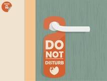 L'etichetta d'attaccatura della stanza della serratura di porta con testo indicato non disturba Immagine Stock
