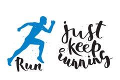 L'etichetta degli emblemi di logo maratona corrente dell'uomo ed il successo pareggianti del distintivo di motivazione di sprint  illustrazione di stock