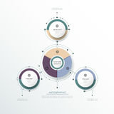L'etichetta del cerchio di infographics 3D di vettore con le frecce firma ed opzione 3 Immagini Stock