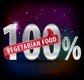 l'etichetta dell'argento dell'alimento del vegetariano di 100% con i pollici aumenta il vettore eps10 di tipografia royalty illustrazione gratis