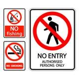l'etichetta non fumatori, nessuna pesca del segno dell'insieme di simboli, nessun'entrata ha autorizzato le persone soltanto illustrazione vettoriale