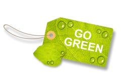 L'etichetta verde della foglia, etichetta va verde - isolato su fondo bianco royalty illustrazione gratis