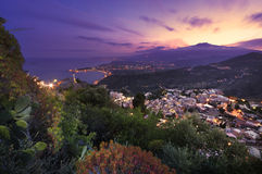 l'Etna de Taormina images libres de droits