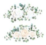 L'eucalyptus de dollar en argent, la rose de blanc et le vecteur d'hortensia conçoivent illustration de vecteur
