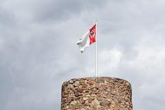 Les hiboux dominent et drapeau municipal dans Templin dans l'Uckermark Photo stock