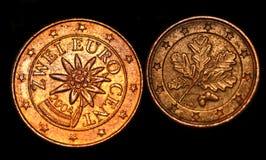 L'euro conia il primo piano dei soldi fotografia stock