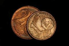 L'euro conia il primo piano dei soldi immagini stock