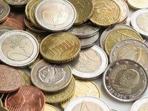 L'euro conia la priorità bassa Fotografie Stock