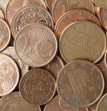 L'euro conia la priorità bassa Fotografie Stock Libere da Diritti
